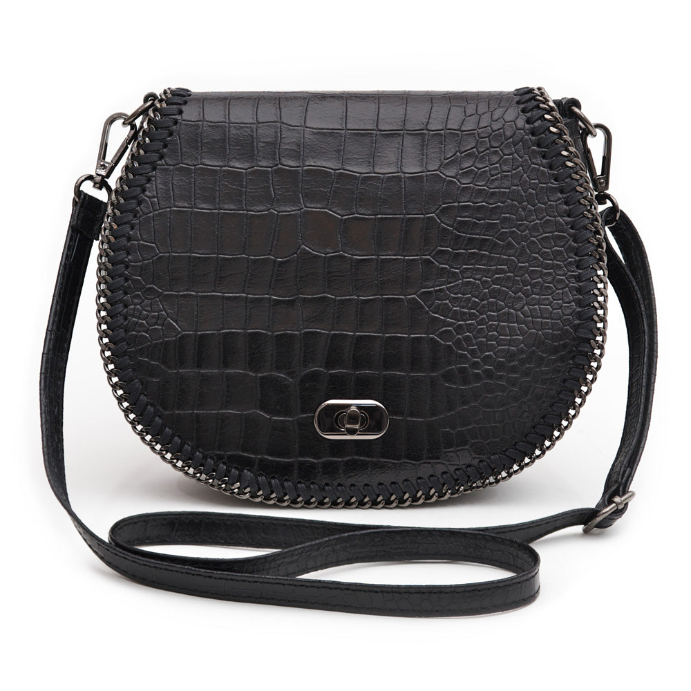 CHELSEA BLACK CROC EMBOSSED ITALIAN LEATHER CROSS-BODY BAG - www.marlafiji.com