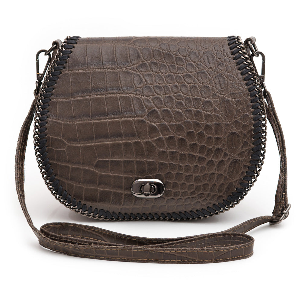 CHELSEA BROWN CROC EMBOSSED ITALIAN LEATHER CROSS-BODY BAG - www.marlafiji.com