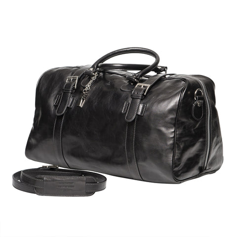 DANIEL BLACK LEATHER  TRAVEL BAG - www.marlafiji.com