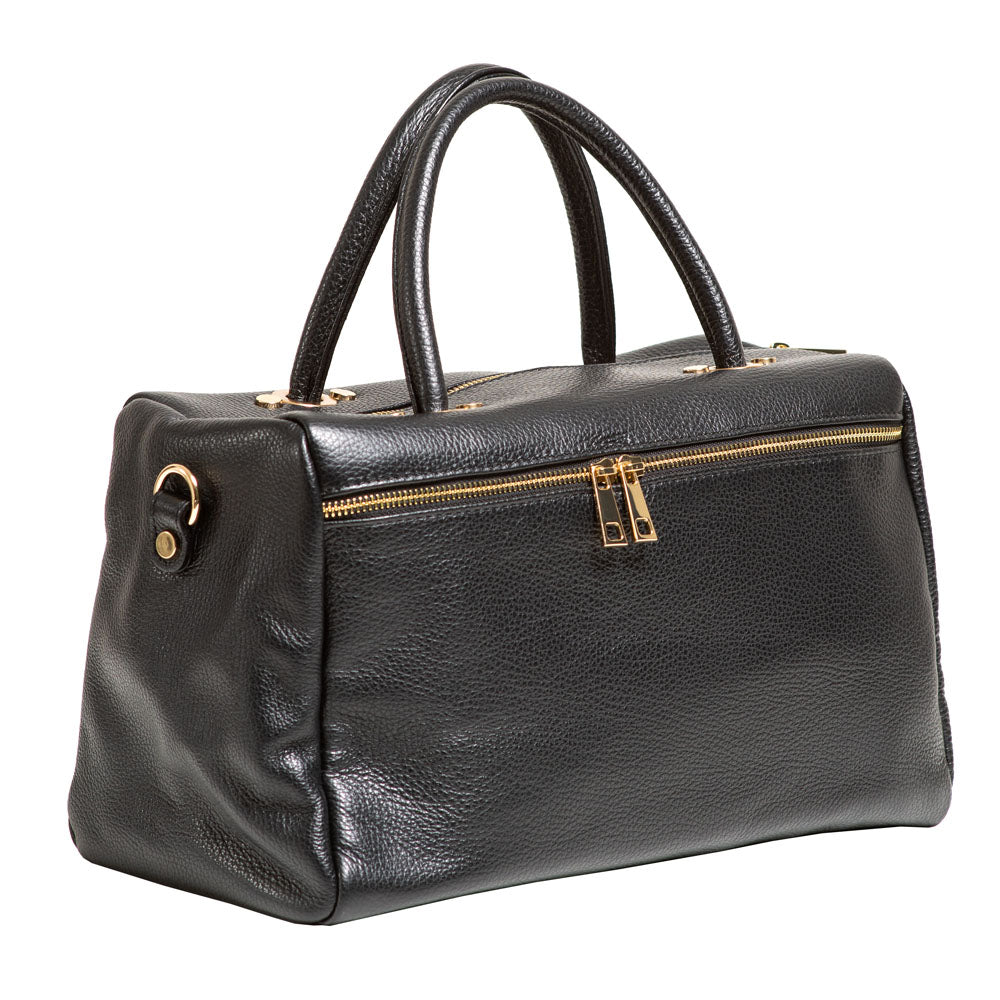 DARSEL BLACK PEBBLE LEATHER HANDBAG