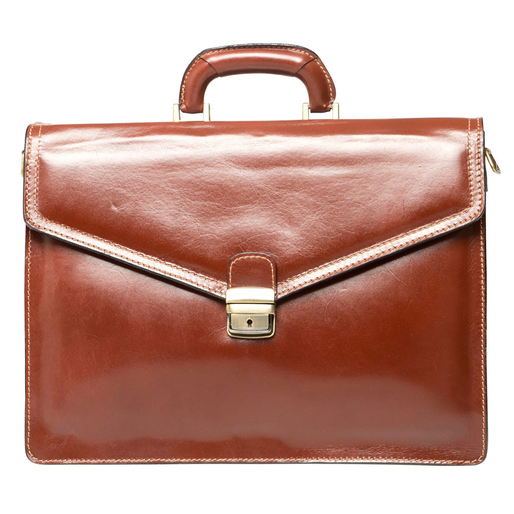 DAVID COGNAC LEATHER  BRIEFCASE