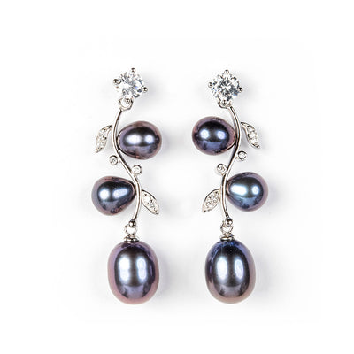 DIANA BLACK FRESHWATER PEARL EARRINGS - www.marlafiji.com