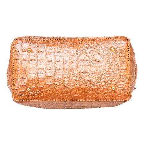 DIANA CLARA COGNAC CROC EFFECT ITALIAN LEATHER HANDBAG