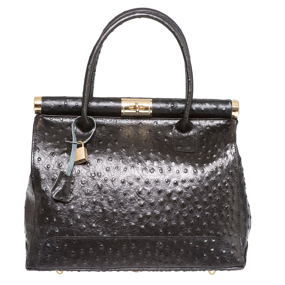 DIANA CLARA BLACK OSTRICH EFFECT LEATHER HANDBAG