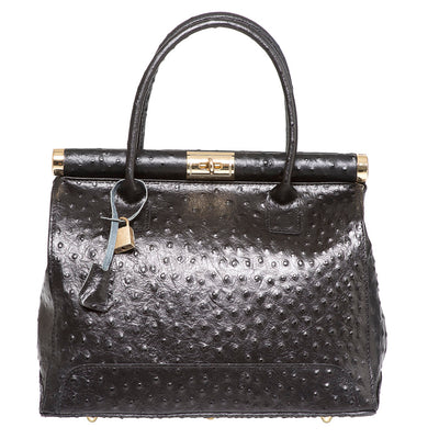 DIANA CLARA BLACK OSTRICH EFFECT LEATHER HANDBAG - www.marlafiji.com