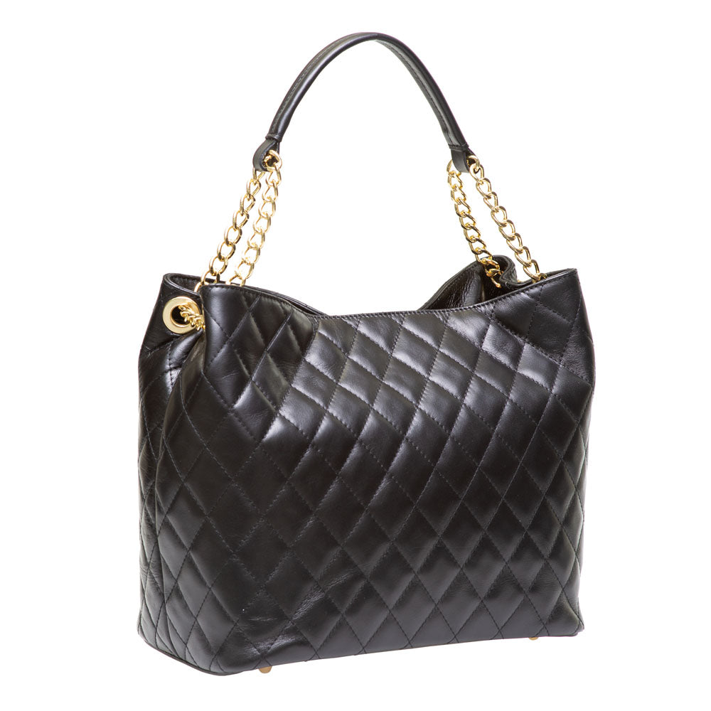 DUSTY BLACK QUILTED ITALIAN LEATHER SHOULDER BAG