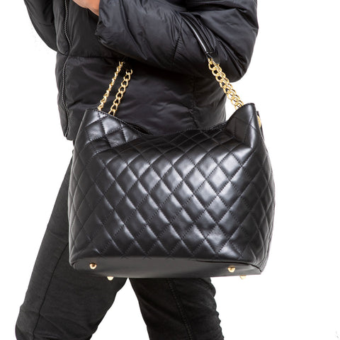 DUSTY BLACK QUILTED ITALIAN LEATHER SHOULDER BAG - www.marlafiji.com