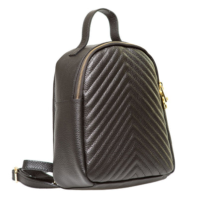 EDDIE HERRINGBONE FRONT UNISEX LEATHER BACKPACK