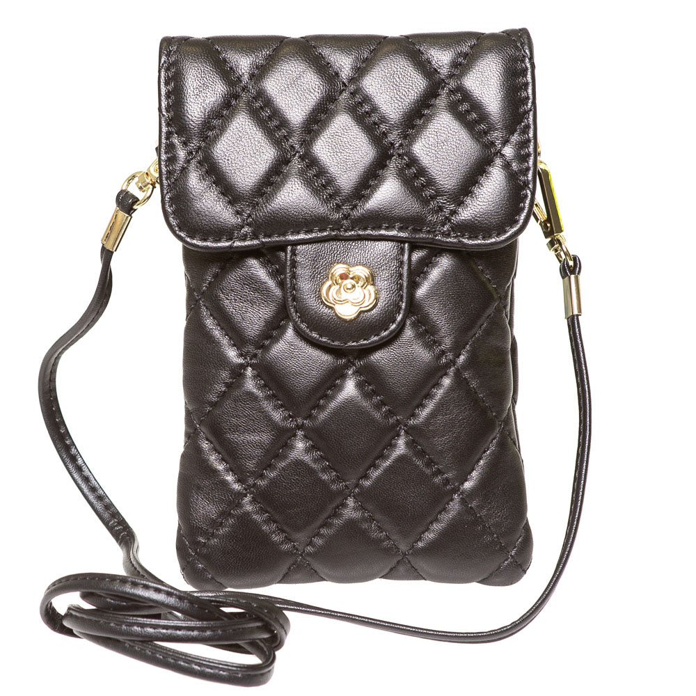 EMM BLACK QUILTED LEATHER MINI SHOULDER BAG