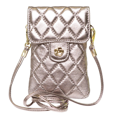 EMM FROSTED MUSHROOM QUILTED LEATHER MINI SHOULDER  BAG