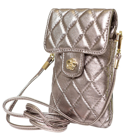 SAMMY SILVER QUILTED LEATHER MINI SHOULDER  BAG - www.marlafiji.com