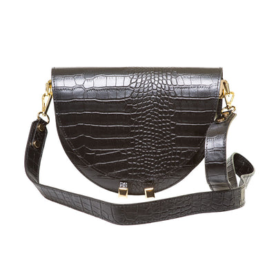 FABIENNE BLACK CROC EMBOSSED  SHOULDER BAG - www.marlafiji.com
