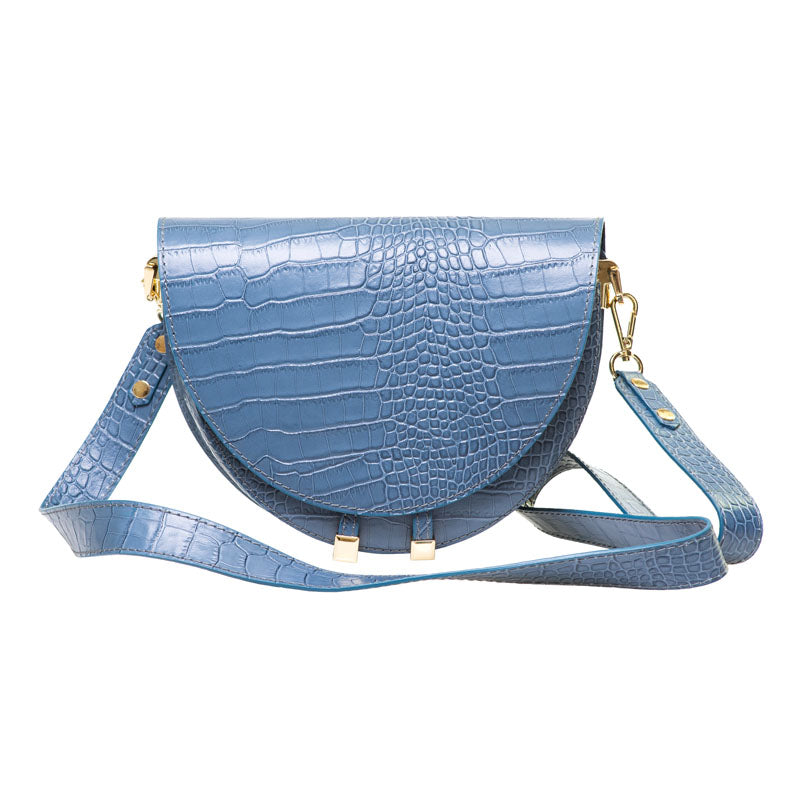 FABIENNE FRENCH BLUE CROC EMBOSSED  SHOULDER BAG - www.marlafiji.com