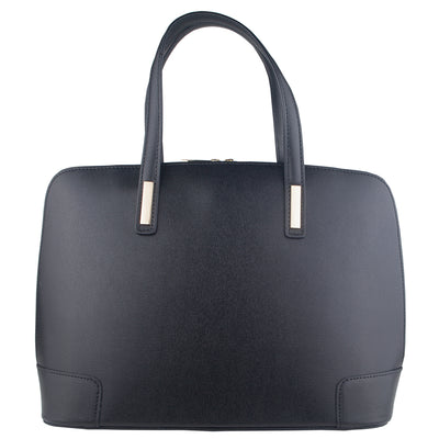 FIONA CLASSIC BLACK ITALIAN LEATHER HANDBAG