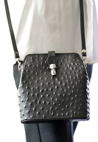GEMMA BLACK OSTRICH EFFECT ITALIAN LEATHER CROSSBODY BAG - www.marlafiji.com