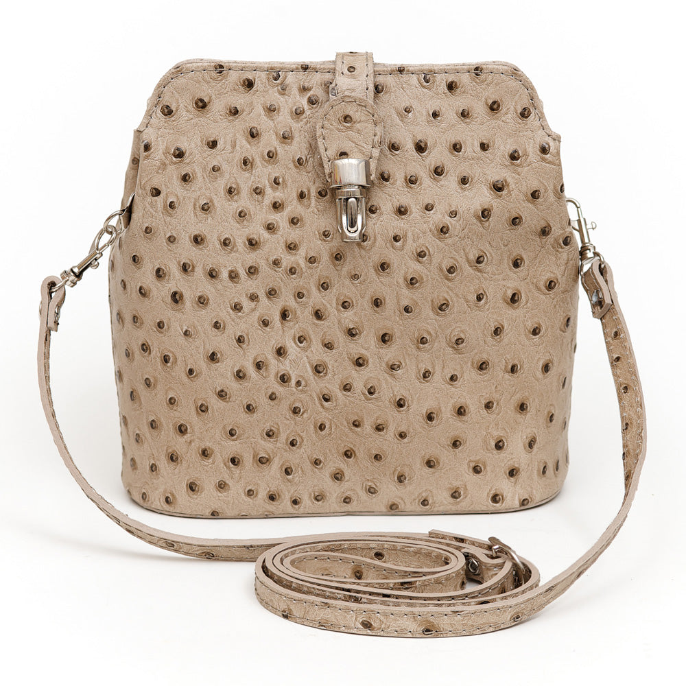 GEMMA TAUPE OSTRICH EFFECT ITALIAN LEATHER CROSSBODY BAG - www.marlafiji.com
