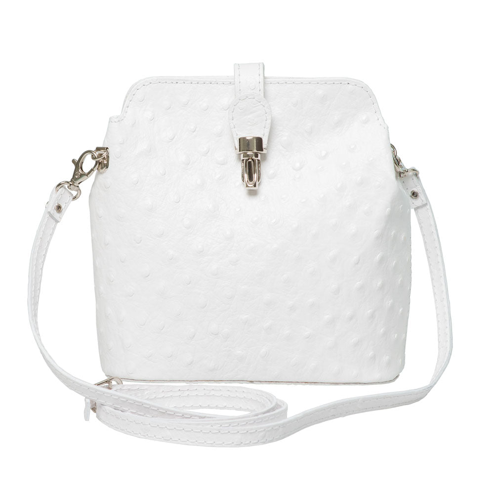 GEMMA WHITE OSTRICH EMBOSSED ITALIAN LEATHER CROSS-BODY BAG - www.marlafiji.com