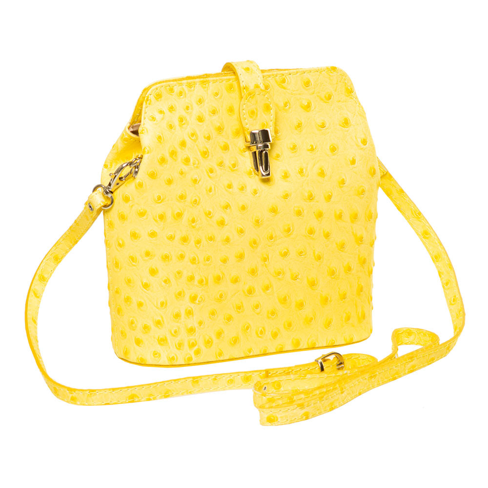 GEMMA YELLOW OSTRICH EFFECT ITALIAN LEATHER CROSSBODY BAG