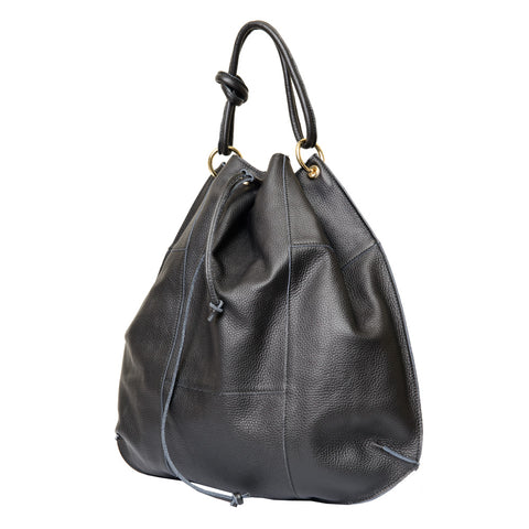 GISELE BLACK ITALIAN LEATHER HOBO