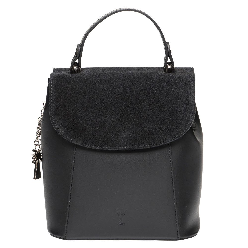 HAPPY  BLACK LEATHER  TOP HANDLE BAG - www.marlafiji.com