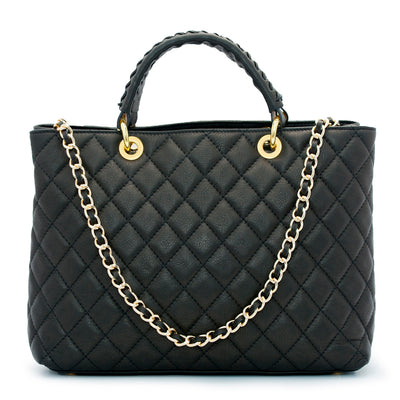 HEATHER BLACK QUILTED ITALIAN LEATHER HANDBAG - www.marlafiji.com