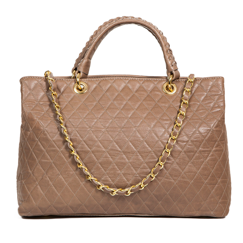 HEATHER CAPPUCCINO  QUILTED ITALIAN LEATHER HANDBAG - www.marlafiji.com