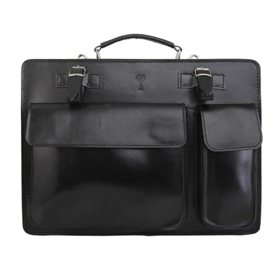 HILLY BLACK ITALIAN LEATHER BRIEFCASE