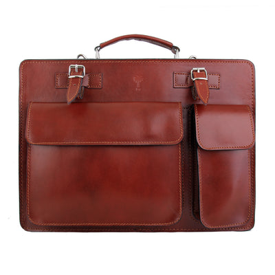 HILLY BROWN ITALIAN LEATHER BRIEFCASE - www.marlafiji.com
