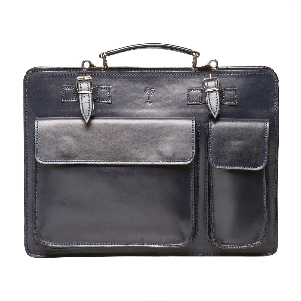 HILLY NAVY ITALIAN  LEATHER BRIEFCASE