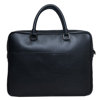 JAMES UNISEX SLIM NAVY LEATHER BRIEFCASE