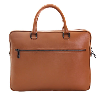 JAMES COGNAC UNISEX SLIM BRIEFCASE