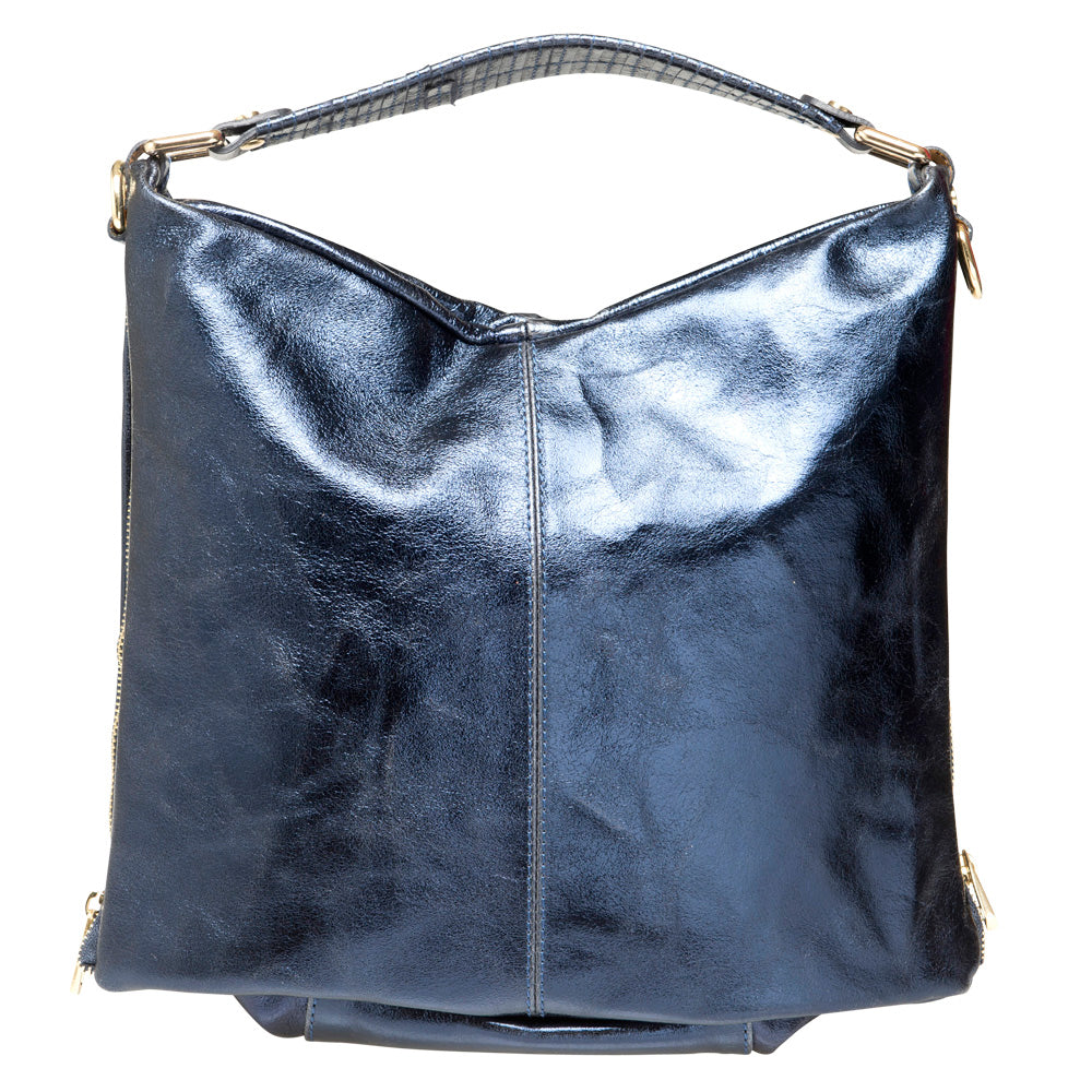 JANE METALLIC NAVY SHOULDER BAG