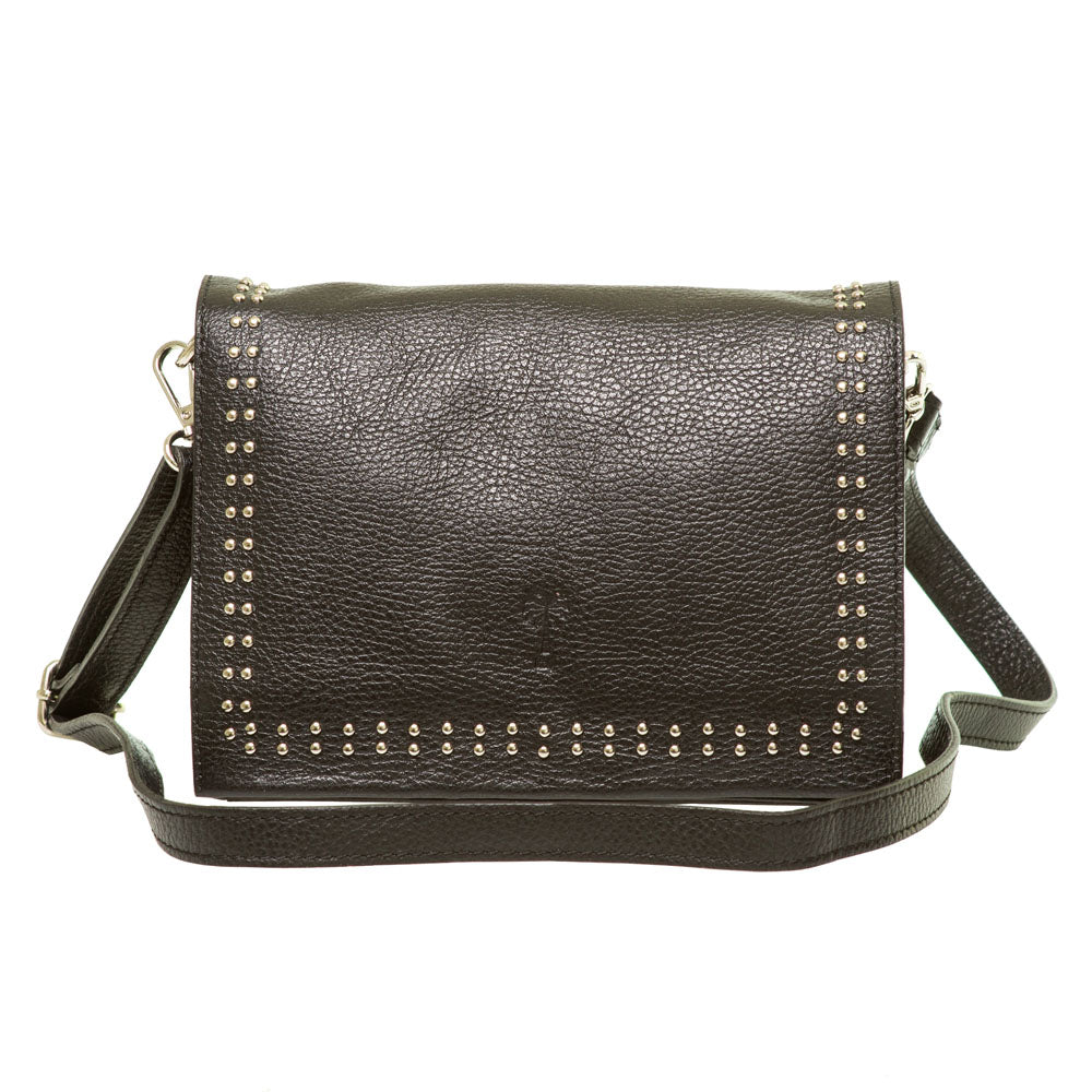 JANINE BLACK LEATHER SHOULDER BAG