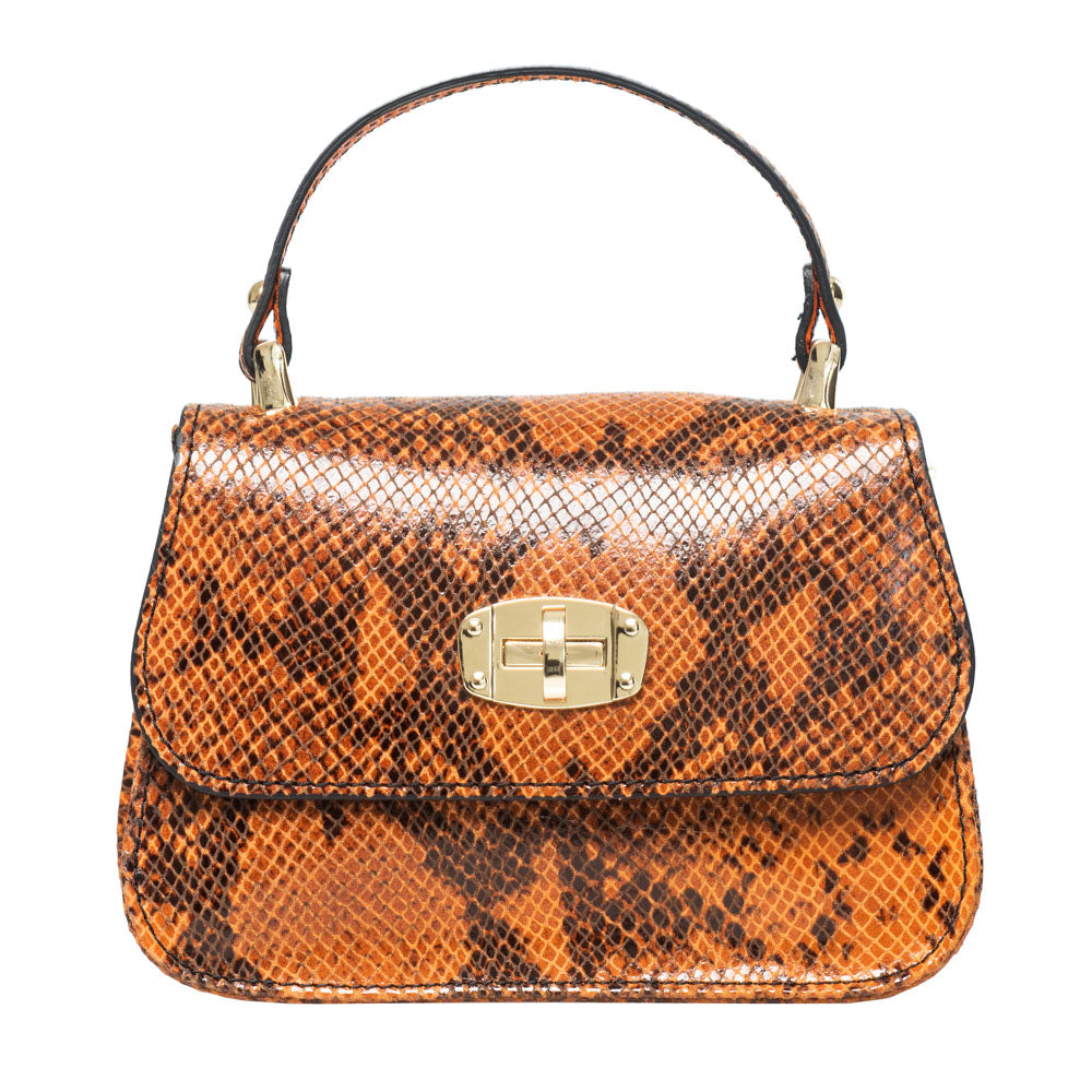 PARIS ORANGE SNAKE EFFECT MINI HANDBAG - www.marlafiji.com