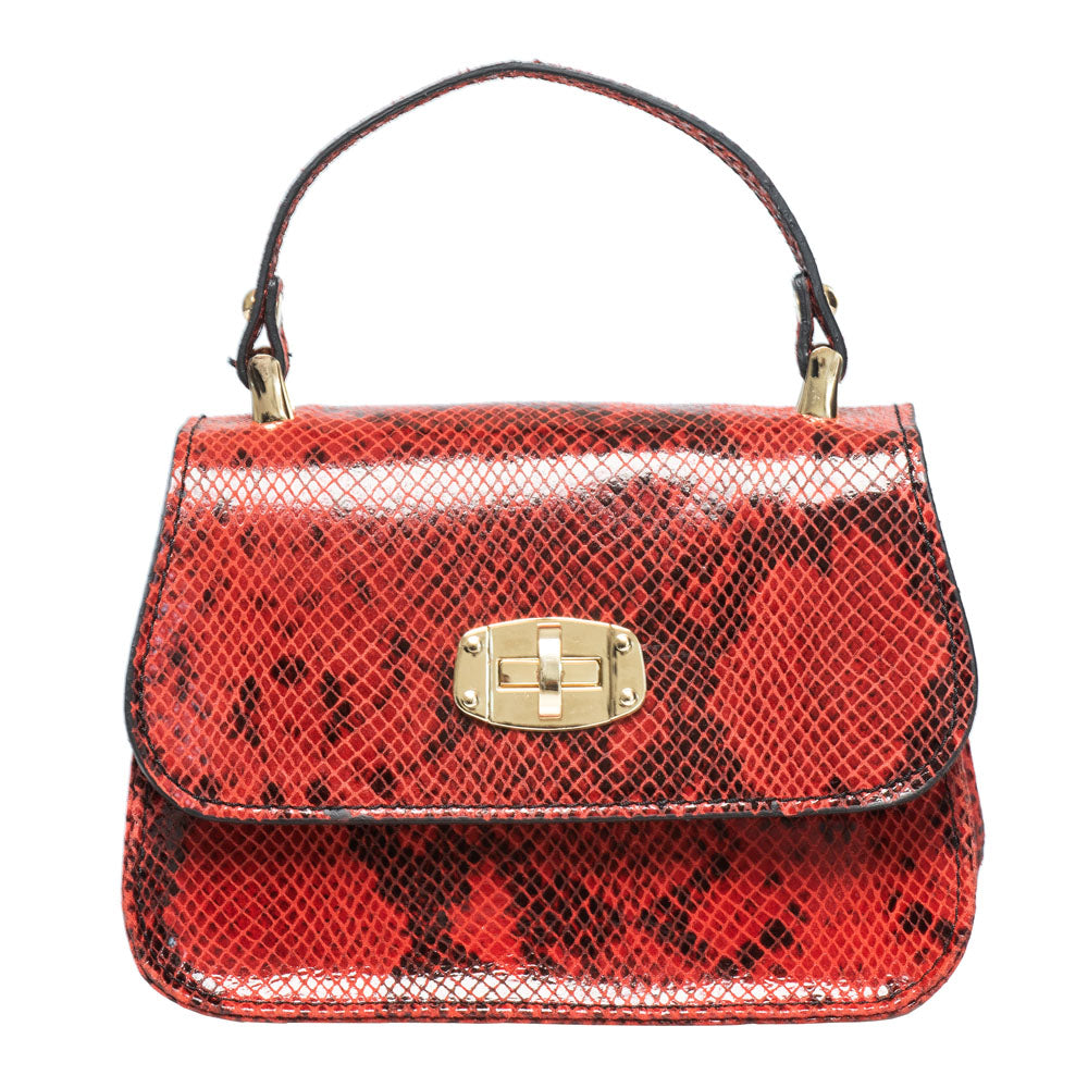 PARIS  RED SNAKE EFFECT MINI  HANDBAG - www.marlafiji.com