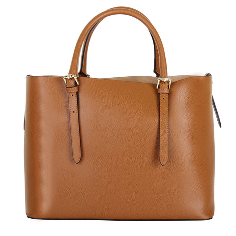 JENNIFER COGNAC ITALIAN LEATHER TOTE