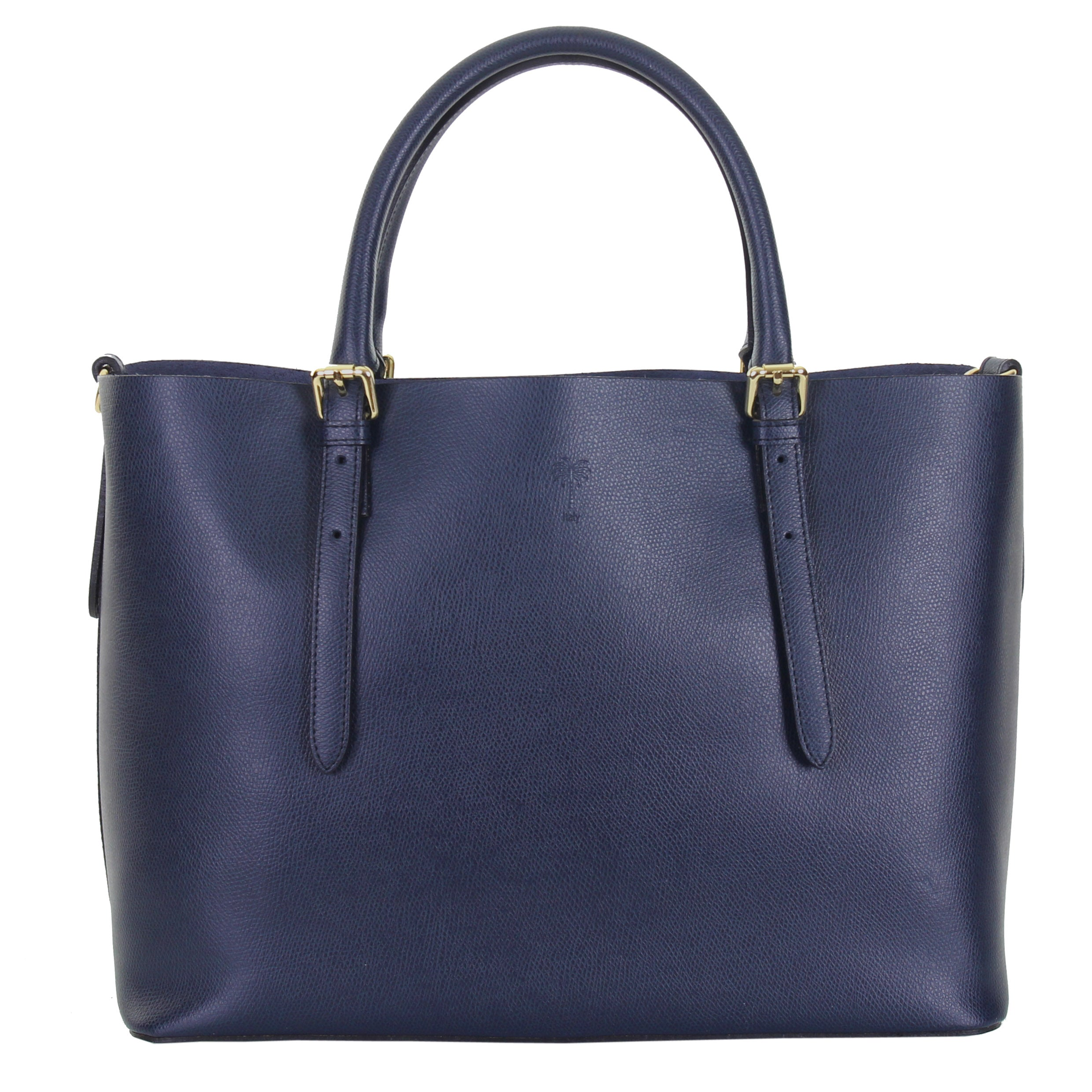JENNIFER NAVY ITALIAN LEATHER TOTE