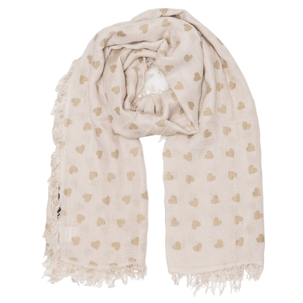 JERRY UNISEX BEIGE GOLD HEART SCARF