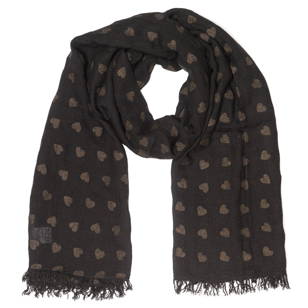 JERRY UNISEX BLACK GOLD HEART SCARF