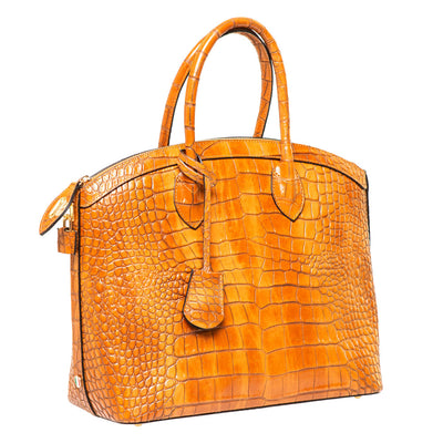 JODIE COGNAC CROC EFFECT ITALIAN LEATHER HANDBAG