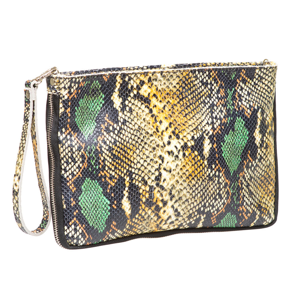 JOJO MARIGOLD AND JADE PYTHON EFFECT CLUTCH /SHOULDER BAG
