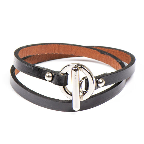 JO BLACK LEATHER UNISEX BRACELET - www.marlafiji.com