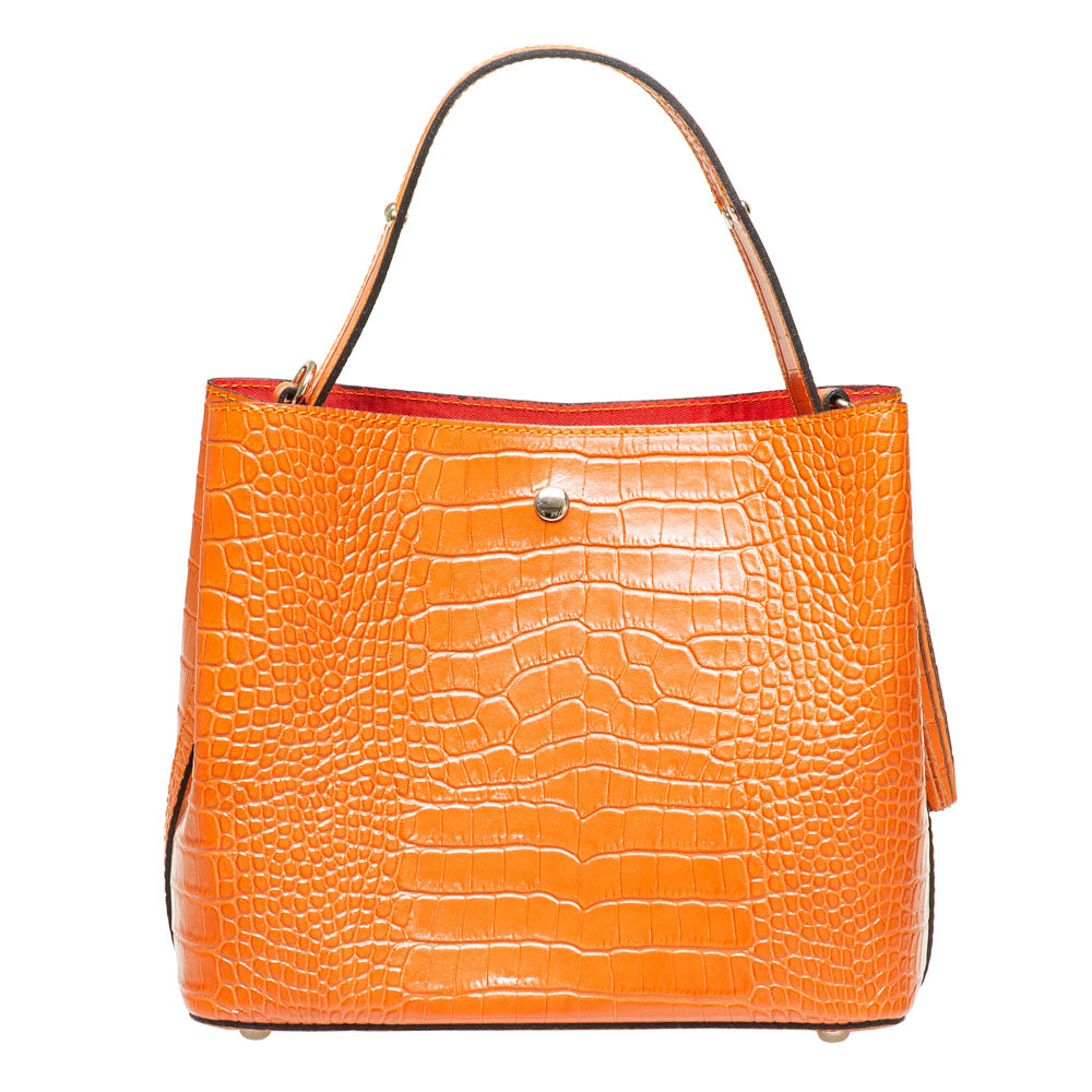 CANDY ORANGE CROC EFFECT ITALIAN LEATHER BUCKET BAG - www.marlafiji.com
