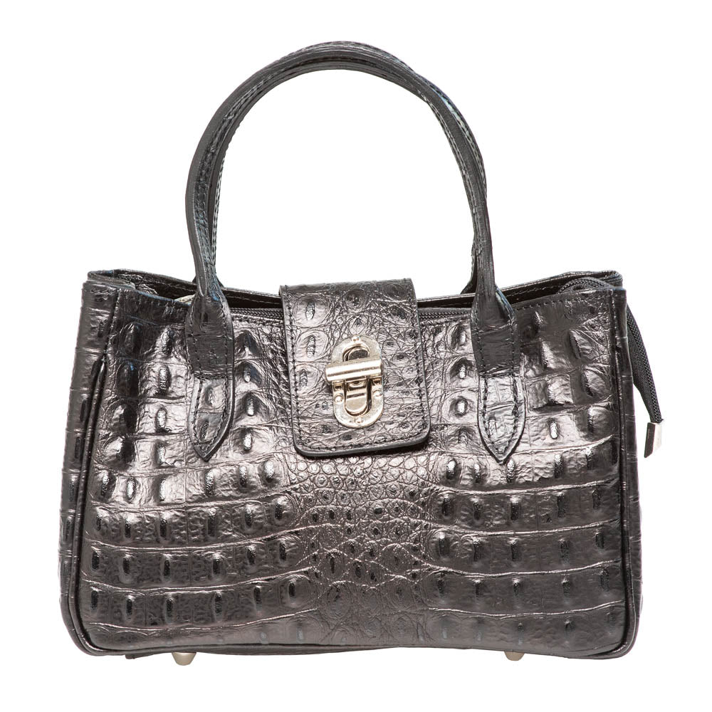 KELLY CROC EMBOSSED BLACK MINI HANDBAG - www.marlafiji.com