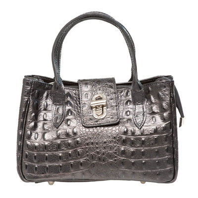 KELLY CROC EMBOSSED BLACK MINI HANDBAG