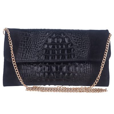 KIM BLACK ITALIAN LEATHER CLUTCH/ SHOULDER BAG