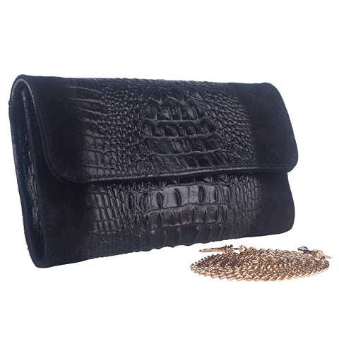 KIM BLACK ITALIAN LEATHER CLUTCH/ SHOULDER BAG - www.marlafiji.com