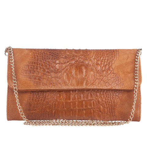 KIM COGNAC ITALIAN LEATHER CLUTCH/SHOULDER BAG