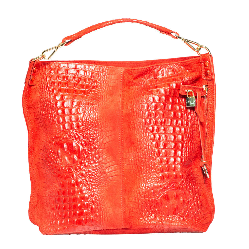 KIM CROC EFFECT RED LEATHER HOBO - www.marlafiji.com
