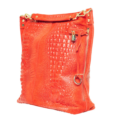 KIM CROC EFFECT RED LEATHER HOBO